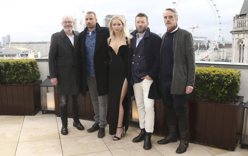 (R-L) Jeremy Irons, Joel Edgerton, Jennifer Lawrence, Matthias Schoenaerts and director Francis Lawrence appear at a controversial Red Sparrow photo call (AP)