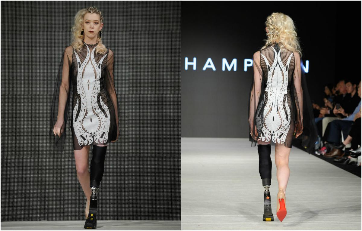 """<p>Boston bombing survivor<a rel=""""nofollow"""" href=""""http://adriannehaslet-davis.com/"""">Adrianne Haslet</a>strutted the runway in a high-tech prosthetic leg as she opened and closed for Canadian designer Lesley Hampton during Vancouver Fashion Week, as part of the #BeBodyAware Fall/Winter 2017 runway show on March 24. <em>(Photos: Getty Images)</em> </p>"""