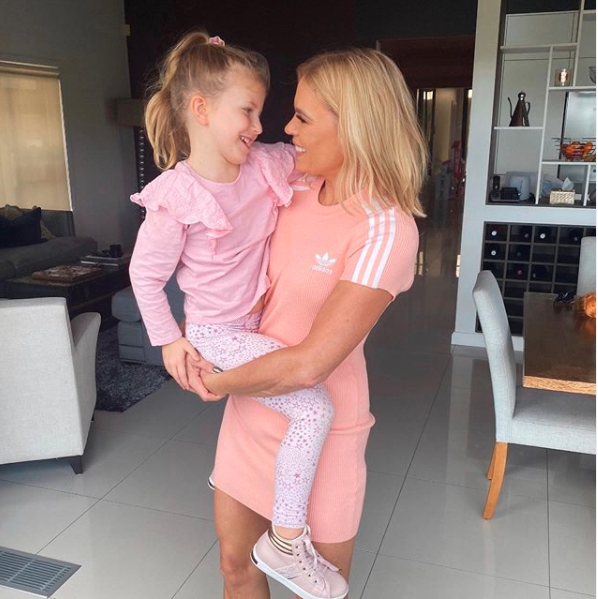 Sonia Kruger holding her daughter Maggie