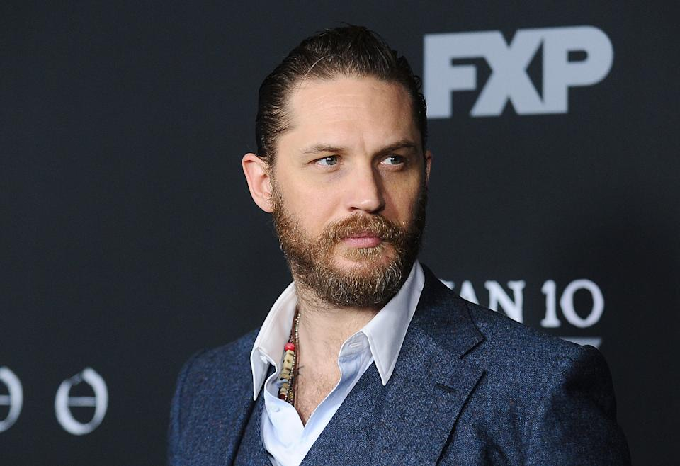 """Tom Hardy attends the premiere of """"Taboo"""" on January 9, 2017. (Photo by Jason LaVeris/FilmMagic)"""
