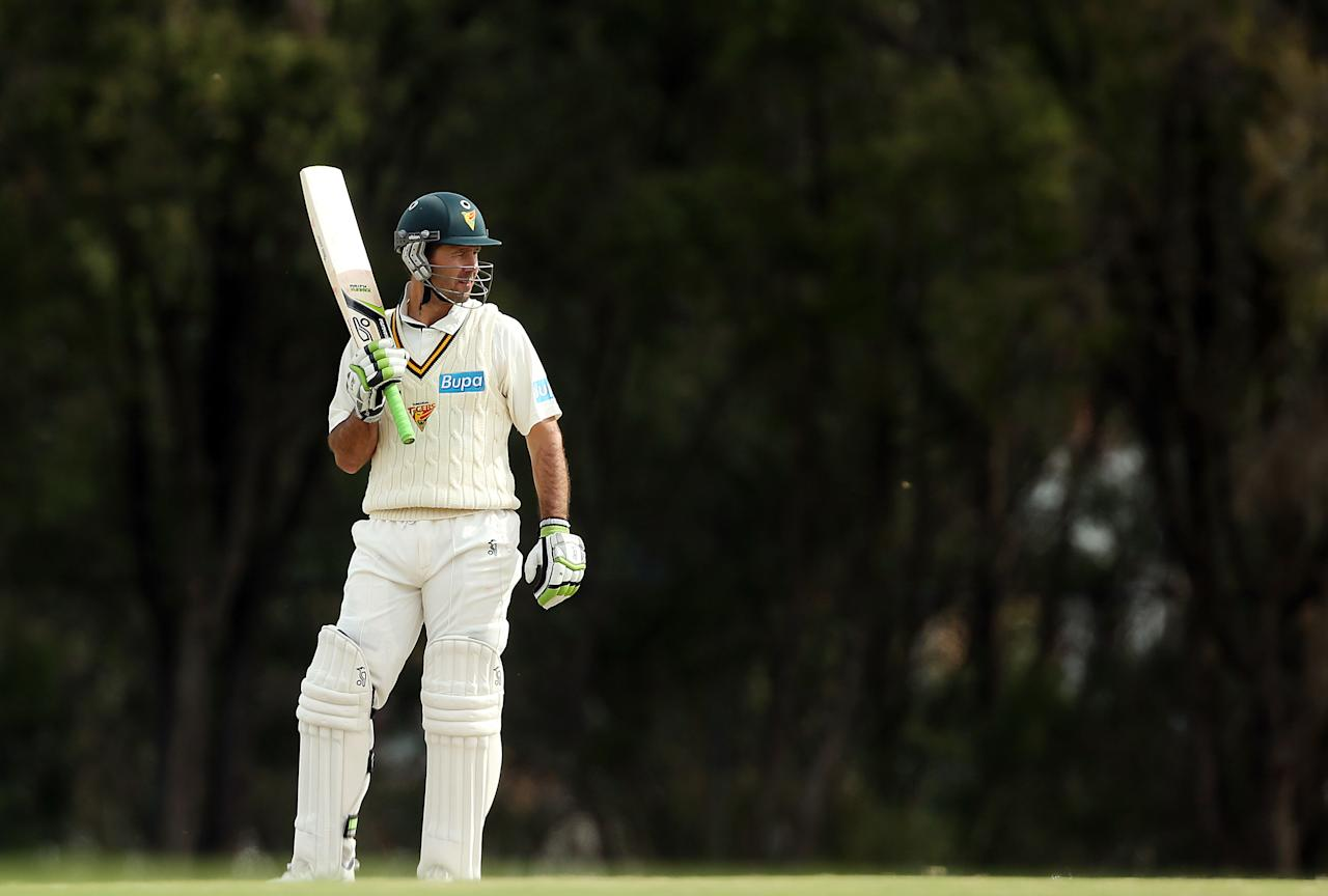 SYDNEY, AUSTRALIA - SEPTEMBER 29:  Ricky Ponting of Tasmania prepares to bat during day four of the Sheffield Shield match between the New South Wales Blues and the Tasmanian Tigers at Bankstown Oval on September 29, 2012 in Sydney, Australia.  (Photo by Mark Metcalfe/Getty Images)