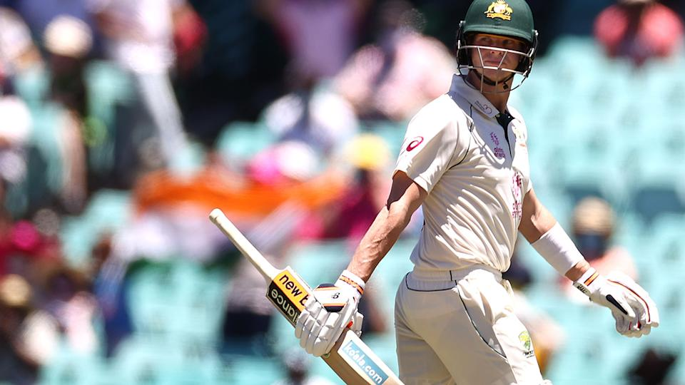 Steve Smith leaves the ground after being dismissed my Ravichandran Ashwin during day four of the SCG Test. (Photo by Ryan Pierse/Getty Images)