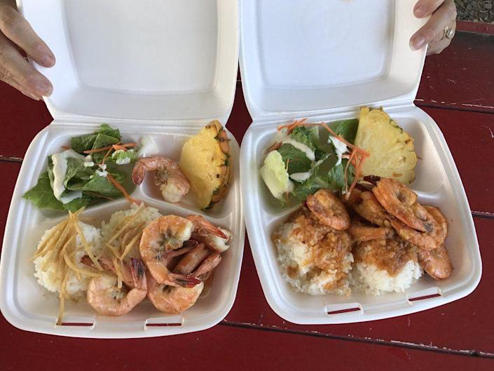 """<p><strong><a href=""""https://www.yelp.com/biz/aloha-shrimp-hauula"""" rel=""""nofollow noopener"""" target=""""_blank"""" data-ylk=""""slk:Aloha Shrimp"""" class=""""link rapid-noclick-resp"""">Aloha Shrimp</a>, Hauula</strong></p><p>""""This is the best garlic shrimp I have tasted in north shore Hawaii. I always get the spicy garlic shrimp plate. It's not that spicy. The shrimp is juicy and cooked just right. The portion is good and it's not super pricey or garlicky."""" — Yelp user <a href=""""https://www.yelp.com/user_details?userid=ypYOMJtpd29h1GP9E4QpaA"""" rel=""""nofollow noopener"""" target=""""_blank"""" data-ylk=""""slk:Rachana K."""" class=""""link rapid-noclick-resp"""">Rachana K.</a></p><p>Photo: Yelp/<a href=""""https://www.yelp.com/user_details?userid=XwEvyADqdvajXEuzZOVhFg"""" rel=""""nofollow noopener"""" target=""""_blank"""" data-ylk=""""slk:Randall W."""" class=""""link rapid-noclick-resp"""">Randall W. </a></p>"""