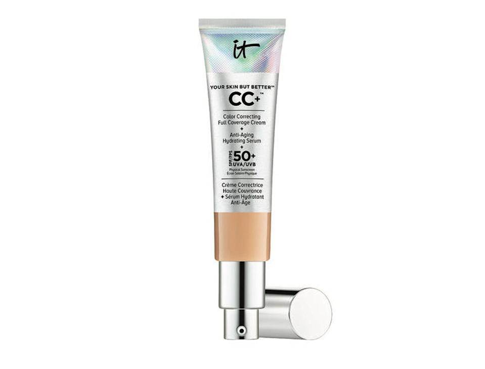 """<p>This is another great alternative to foundation. It Cosmetic's Your Skin But Better CC+ Cream does exactly what is says on the tin, all the while correcting those dark circles and blemishes that we're prone to while at festvials. <br><a rel=""""nofollow noopener"""" href=""""https://www.itcosmetics.co.uk/face/foundation/your-skin-but-better-cc-cream-with-spf-50/ITC_0008.html"""" target=""""_blank"""" data-ylk=""""slk:Buy here."""" class=""""link rapid-noclick-resp"""">Buy here.</a> </p>"""