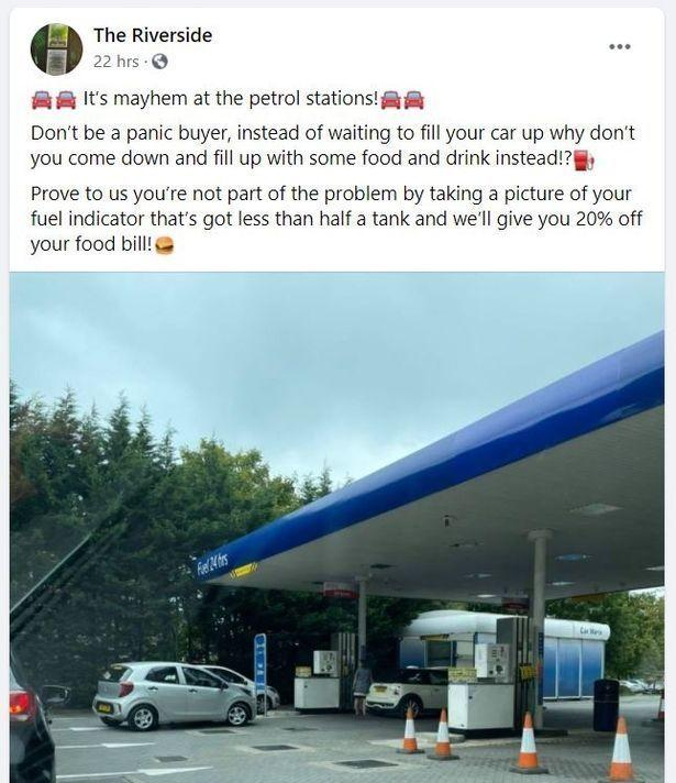 The Riverside in Acton Bridge, Northwich, offered discounts to people who could prove they hadn't been panic-buying fuel. (Reach)