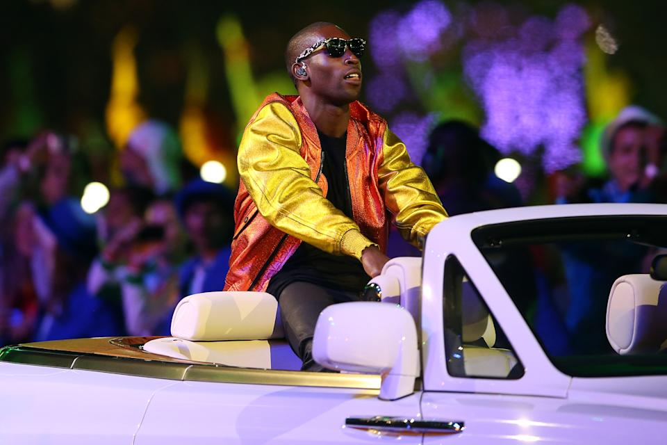 Tinie Tempah performs during the Closing Ceremony on Day 16 of the London 2012 Olympic Games at Olympic Stadium on August 12, 2012 in London, England. (Photo by Scott Heavey/Getty Images)