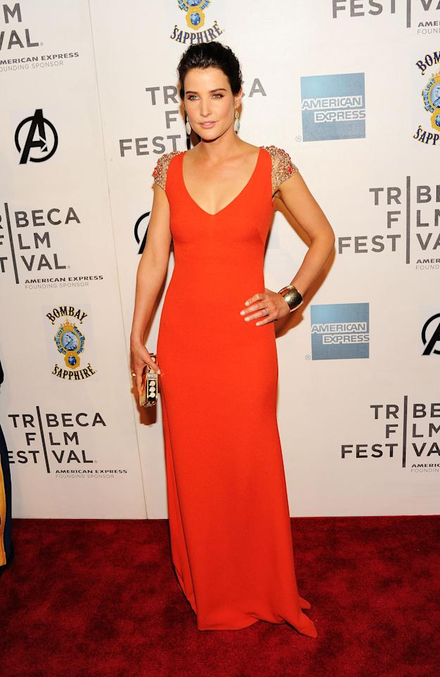 """NEW YORK, NY - APRIL 28:  Actress Cobie Smulders attends the """"Marvel's The Avengers"""" Premiere during the 2012 Tribeca Film Festival at the Borough of Manhattan Community  College on April 28, 2012 in New York City.  (Photo by Jason Kempin/Getty Images for Tribeca Film Festival)"""