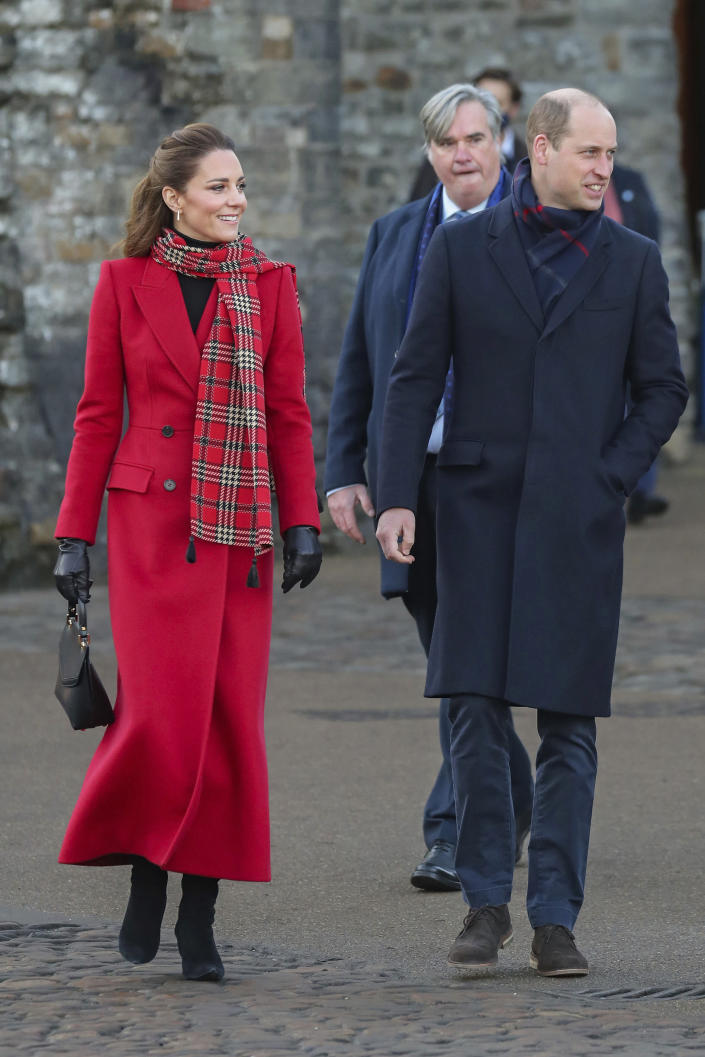 Britain's Prince William and Kate Duchess of Cambridge at Cardiff Castle on Tuesday Dec. 8, 2020, in Cardiff, Wales. Prince William and Kate Duchess of Cambridge are undertaking a short tour of the UK by train ahead of the Christmas holidays to pay tribute to the inspiring work in local communities. (Chris Jackson/Pool via AP)