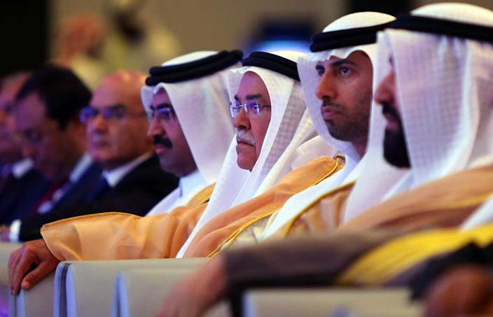 (L-R) Oil ministers from Qatar, Saudi Arabia, the United Arab Emirates and Kuwait attend the 10th Arab Energy Conference in Abu Dhabi, on December 21, 2014 (AFP Photo/Marwan Naamani)