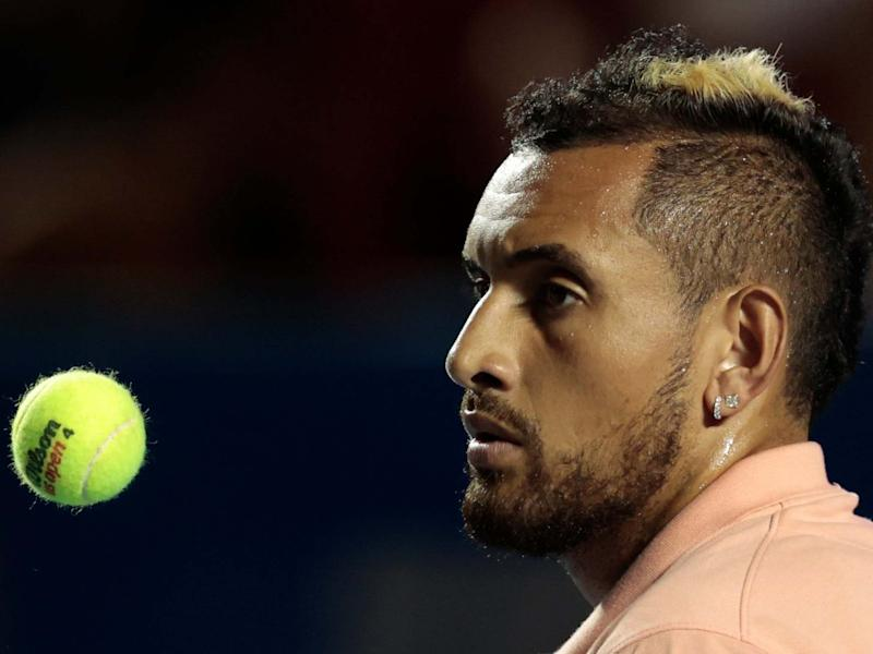 Australia's Nick Kyrgios tosses a ball in the air: AP