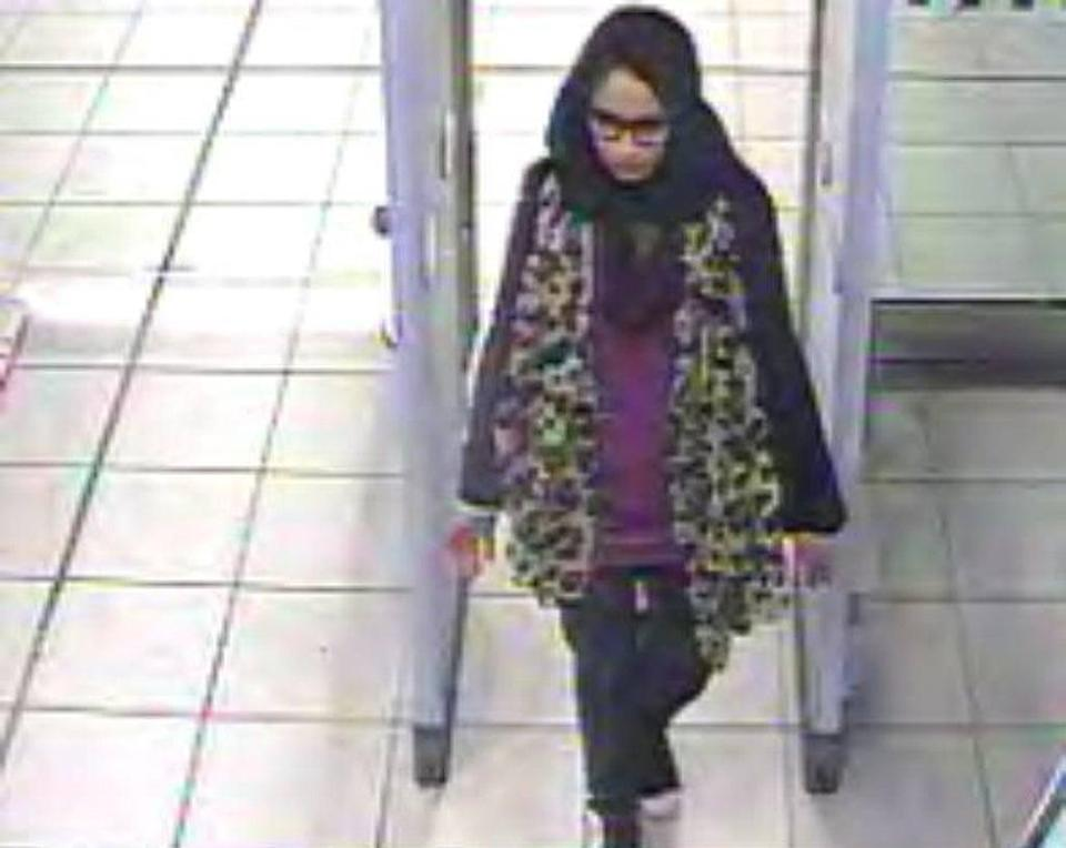 Shamima Begum, then aged 15, was caught on CCTV at Gatwick airport on her way to Syria (PA Media)