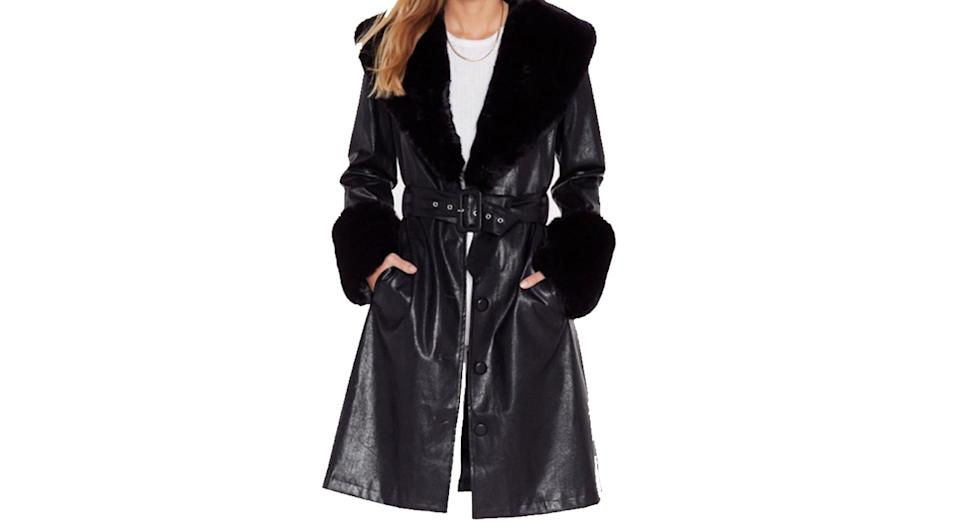 Nasty Gal I'm That Girl Faux Fur Collar Trench Coat