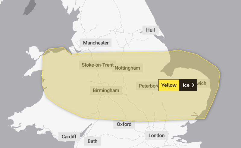 Weather warnings of ice were in place for Friday morning (Picture: Met Office)