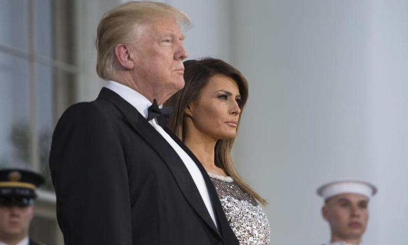 Donald and Melania Trump, seen before a State Dinner with French president Emmanuel Macron and first lady Brigitte Macron at the White House.