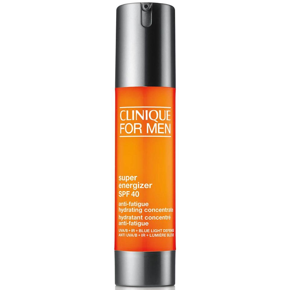 """<p><a class=""""link rapid-noclick-resp"""" href=""""https://www.boots.com/clinique-super-energizer-spf-40-anti-fatigue-hydrating-concentrate-moisturiser-48ml-10256647"""" rel=""""nofollow noopener"""" target=""""_blank"""" data-ylk=""""slk:SHOP"""">SHOP</a></p><p><strong>Best for: SPF</strong></p><p>A <a href=""""https://www.esquire.com/uk/style/grooming/g28273671/spf-moisturiser-mens/"""" rel=""""nofollow noopener"""" target=""""_blank"""" data-ylk=""""slk:moisturiser with SPF"""" class=""""link rapid-noclick-resp"""">moisturiser with SPF </a>is a smart choice, as you won't need to layer a separate protector on top. Clinique's hyaluronic acid-packed option will shield you from damaging rays without making skin feel clammy. </p><p>Clinique For Men Super Energizer SPF 40, £40, boots.com</p>"""