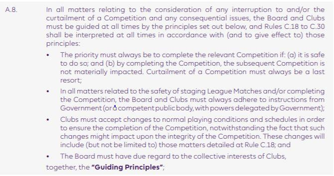 Section on rescheduling matches from Premier League 2020-21 handbook