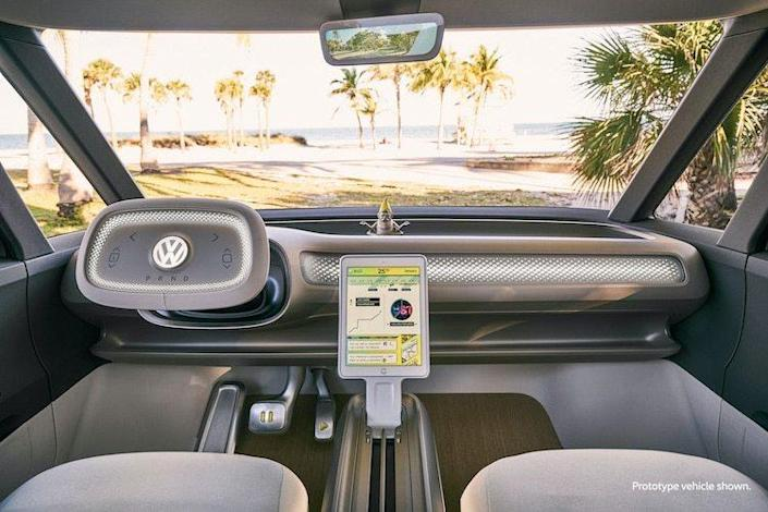 View of the futuristic dash area inside the upcoming electric Volkswagen I.D. Buzz.