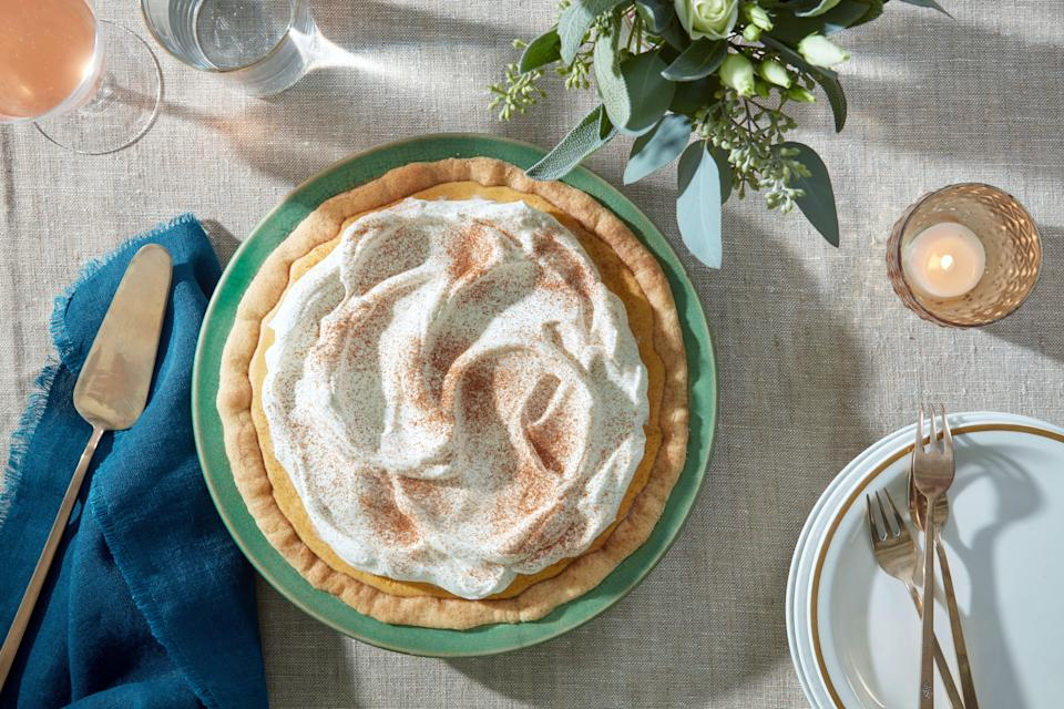 "<a href=""https://www.epicurious.com/expert-advice/easy-pie-crust-crumb-crust-technique-gluten-free-option-thanksgiving-pie-article?mbid=synd_yahoo_rss"" rel=""nofollow noopener"" target=""_blank"" data-ylk=""slk:Crumb crusts"" class=""link rapid-noclick-resp"">Crumb crusts</a> are so much easier than dealing with pie dough. Here, a cinnamon-sugar coated snickerdoodle cookie dough is pressed into a pie plate, making a fun and stress-free crust for this silky pumpkin icebox pie. <a href=""https://www.epicurious.com/recipes/food/views/pumpkin-icebox-pie-with-snickerdoodle-crust-56390159?mbid=synd_yahoo_rss"" rel=""nofollow noopener"" target=""_blank"" data-ylk=""slk:See recipe."" class=""link rapid-noclick-resp"">See recipe.</a>"