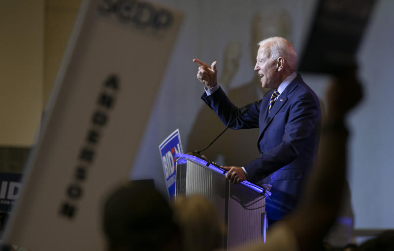 Former Vice President Joe Biden speaks during the South Carolina Democratic Convention in Columbia, S.C.  (Tracy Glantz/The State via AP)