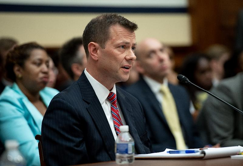Veteran FBI agent Peter Strzok defends his anti-Trump private text messages with a lover before a House hearing on alleged political bias in the FBI (AFP Photo/SAUL LOEB)