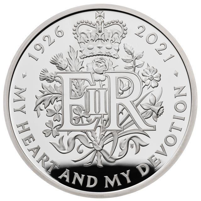 One of the new commemorative coins, 95 of which will be given to 95 people turning 95 years old, to celebrate the 95th birthday of the Queen this yea