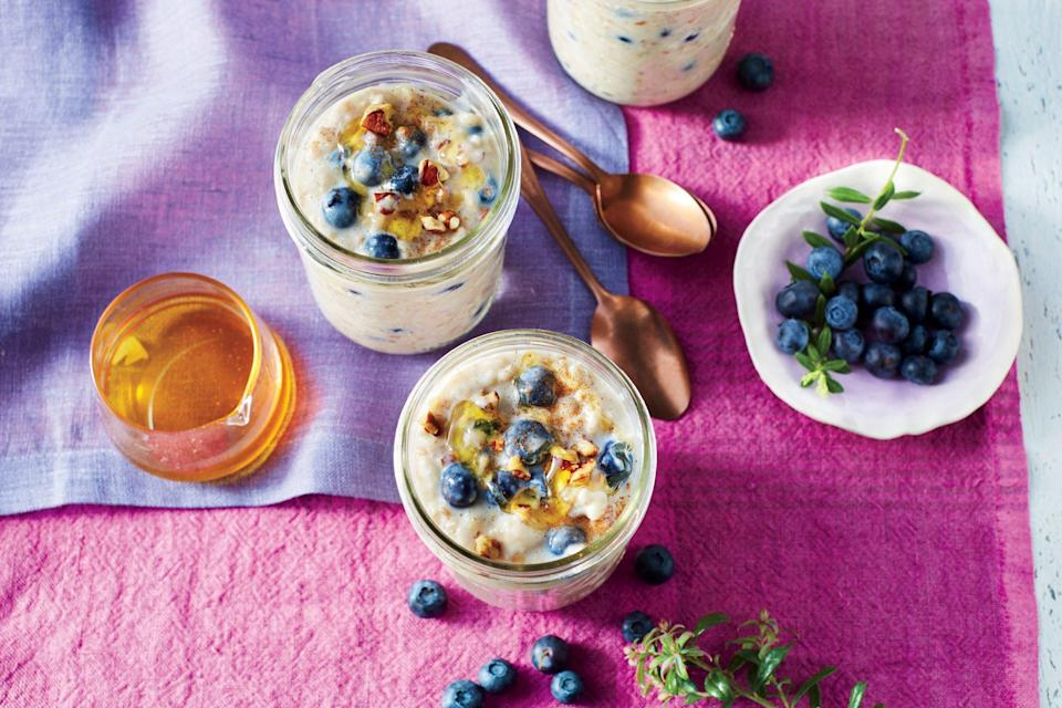 """<p><strong>Recipe: <a href=""""https://www.southernliving.com/recipes/blueberry-overnight-oatmeal-recipe"""" rel=""""nofollow noopener"""" target=""""_blank"""" data-ylk=""""slk:Blueberry Overnight Oatmeal"""" class=""""link rapid-noclick-resp"""">Blueberry Overnight Oatmeal</a></strong></p> <p>Skip the maple syrup and honey—blueberries and cinnamon bring plenty of sweet flavor. We love the addition of toasted pecans and fiber-rich flax seeds.</p>"""