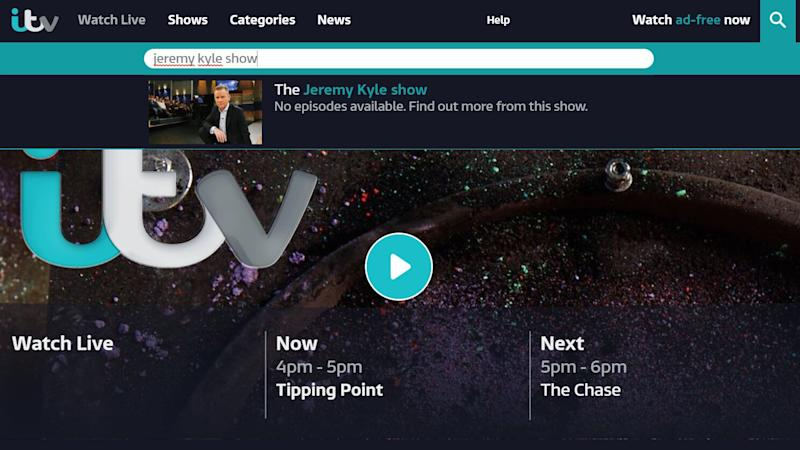 ITV has removed archive episodes of 'The Jeremy Kyle Show' from its ITV Hub on demand service.