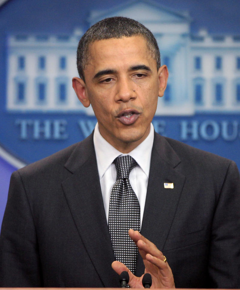 President Barack Obama speaks to reporters at the White House in Washington after meeting with House Speaker John Boehner, R-Ohio, and Senate Majority Leader Harry Reid, D-Nev., regarding the budget and possible government shutdown, Wednesday, April 6, 2011. (AP Photo/Charles Dharapak)