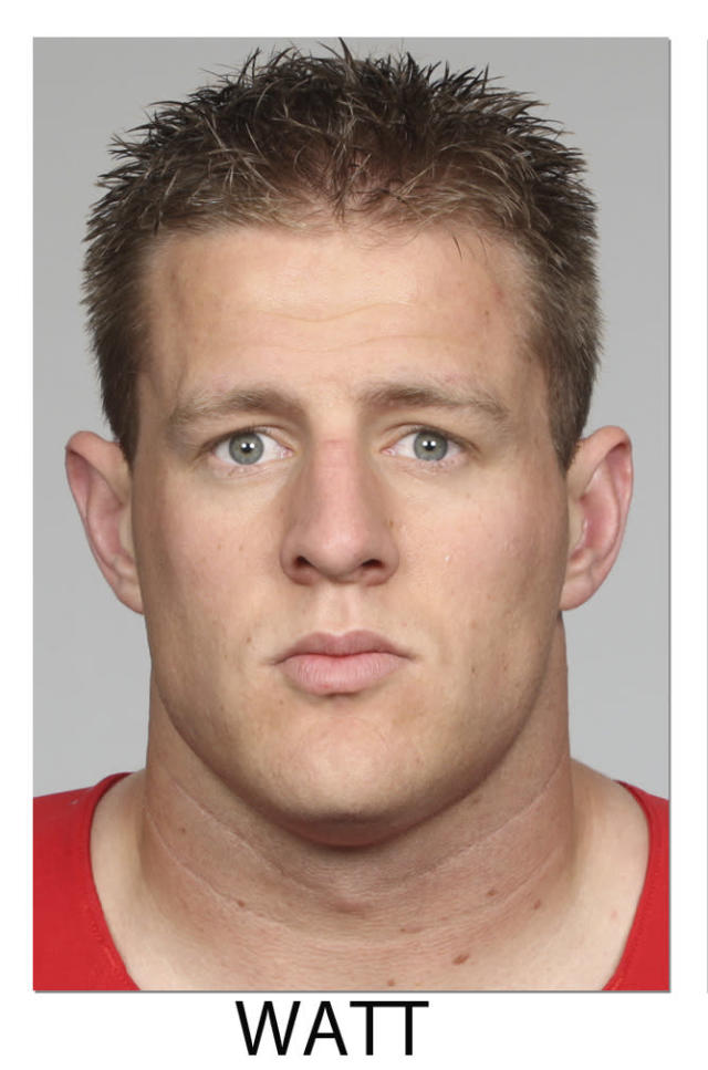 FILE - This 2013 file photos shows J.J. Watt of the Houston Texans, selected Friday, Jan. 3, 2014 to The Associated Press 2013 NFL All-Pro team defense. (AP Photo/File)