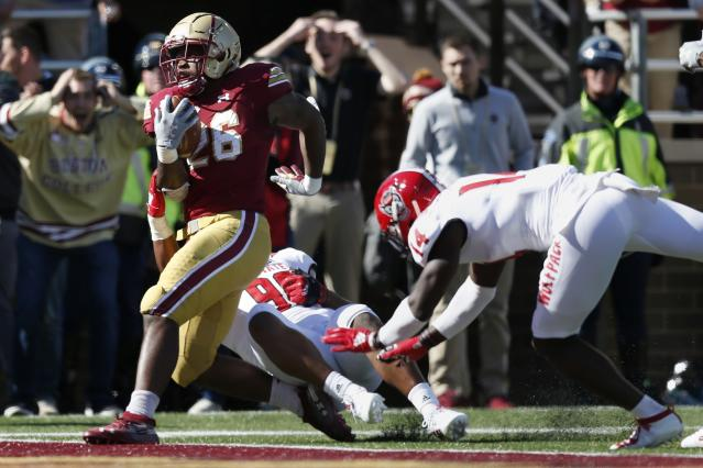Boston College running back David Bailey (26) scores a touchdown against NC State. (AP Photo/Michael Dwyer)