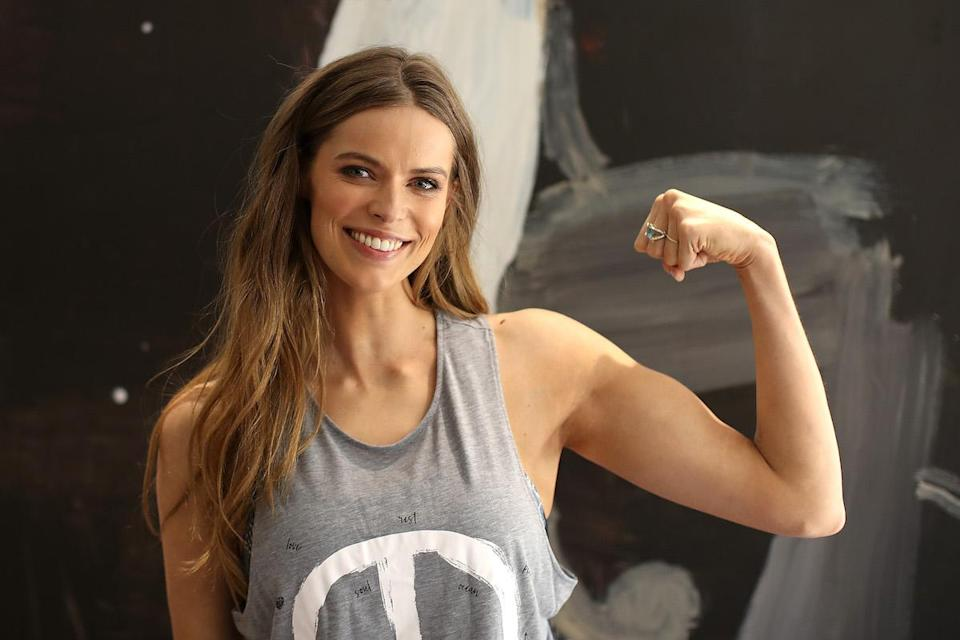 Westfield Beauty and Wellness Ambassador Robyn Lawley poses ahead of hosting a spin class with her personal trainer Penny Walsh at Westfield Bondi Junction on Oct. 13, 2016, in Sydney, Australia. (Photo: Getty Images)