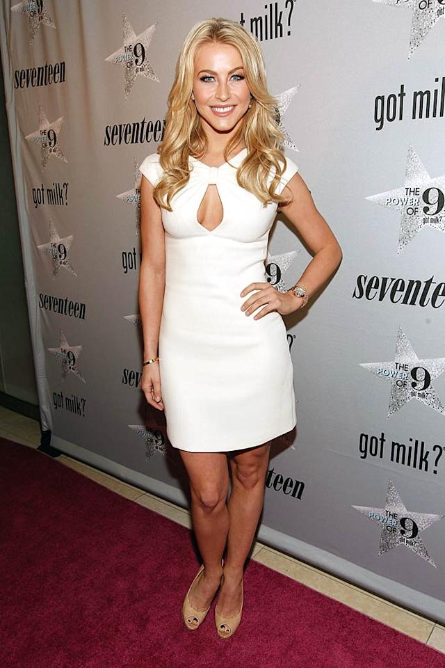 """White is all the rage this winter, and """"Dancing With the Stars"""" alum Julianne Hough kept the fashionable trend alive upon arriving at a recent Got Milk? event in a chic Pamella Roland frock, which featured capped sleeves and a keyhole neckline. Christopher Polk/<a href=""""http://www.gettyimages.com/"""" target=""""new"""">GettyImages.com</a> - February 1, 2011"""