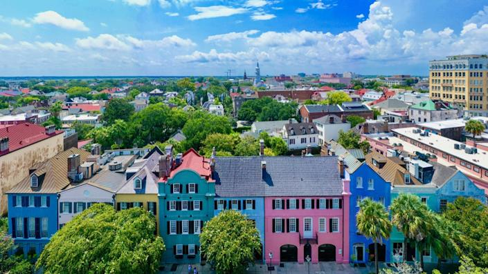 Aerial view of Rainbow Row in downtown Charleston, SC