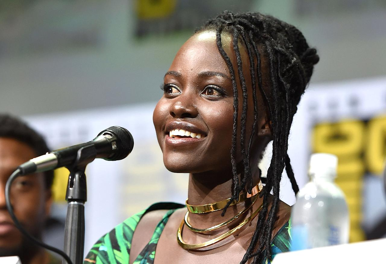 Lupita Nyong'o rocked epic superhero hair for her appearance at Comic Con on Saturday, July 22 — exclusive details on how to get the look, here!