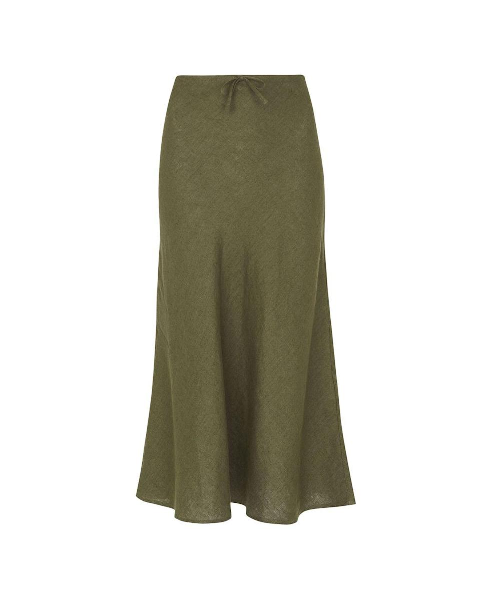 """<p>Whistles linen midi skirt – £65.00</p><p><a class=""""link rapid-noclick-resp"""" href=""""https://go.redirectingat.com?id=127X1599956&url=https%3A%2F%2Fwww.whistles.com%2Fproduct%2Flinen-bias-cut-skirt-33101.html&sref=https%3A%2F%2Fwww.elle.com%2Fuk%2Ffashion%2Fwhat-to-wear%2Farticles%2Fg31862%2Fthe-10-items-you-need-in-your-capsule-holiday-wardrobe%2F"""" rel=""""nofollow noopener"""" target=""""_blank"""" data-ylk=""""slk:SHOP NOW"""">SHOP NOW</a></p><p>Silky skirts are beautiful, but wholly inappropriate for daytime wearing when it's hot out. Enter: the summer slip skirt by Whistles. This design is still bias-cut, so it hugs your hips and drapes beautifully, but made from linen that's breezier and less high-maintenance. Choose from khaki or white – both are in the sale.</p>"""