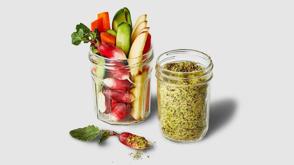 """Change up your dip game by whipping up this crunchy mix, a savory take on Fun Dip, packed with the flavor of pistachios, nutritional yeast, dried dill, onion powder, and salt. <a href=""""https://www.epicurious.com/recipes/food/views/ranch-fun-dip-with-crudites?mbid=synd_yahoo_rss"""" rel=""""nofollow noopener"""" target=""""_blank"""" data-ylk=""""slk:See recipe."""" class=""""link rapid-noclick-resp"""">See recipe.</a>"""