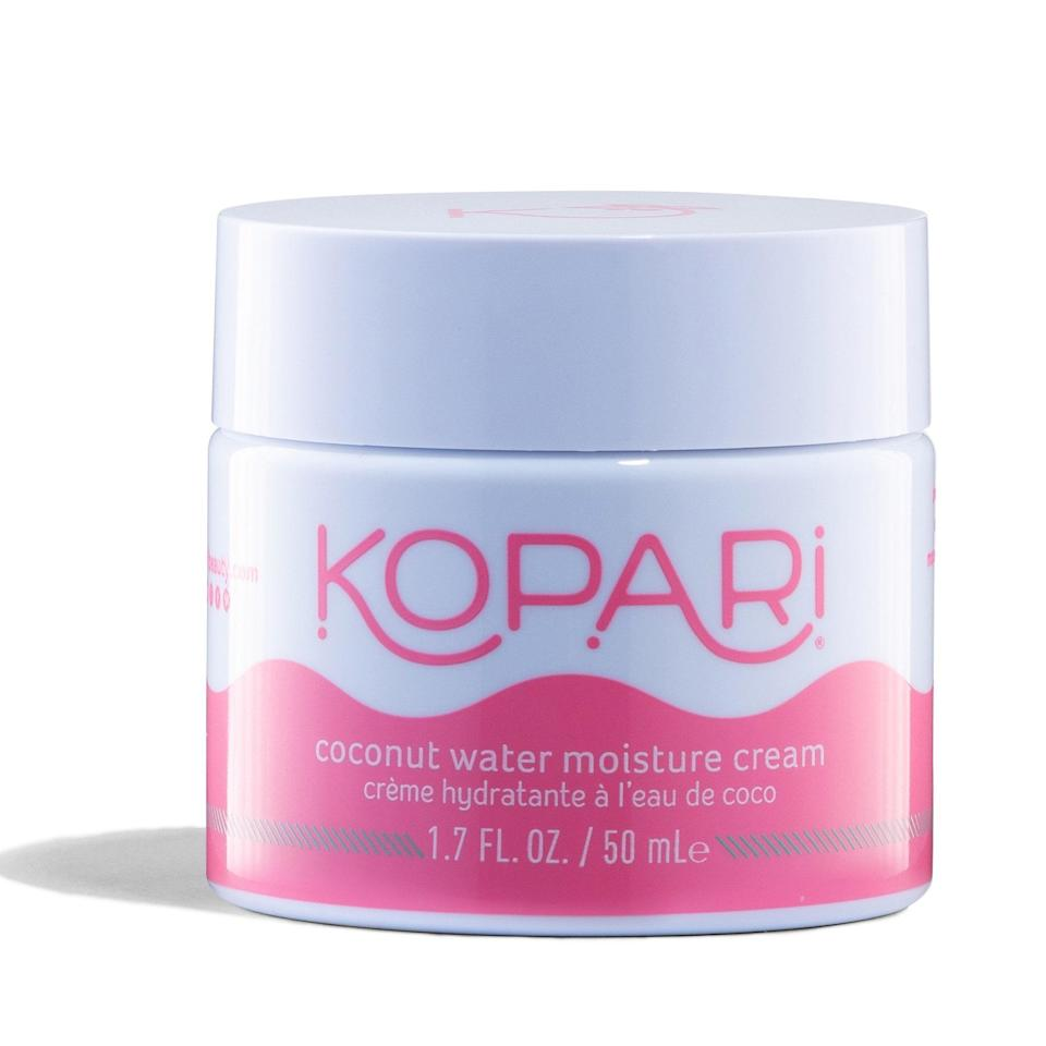 """<p>Summer, for us, means Sahara-Desert dry skin. So thank goodness Kopari just launched its new Coconut Water Moisture Cream, a lightweight lotion made with a cocktail of <a href=""""https://www.allure.com/story/what-is-hyaluronic-acid-skin-care?mbid=synd_yahoo_rss"""" rel=""""nofollow noopener"""" target=""""_blank"""" data-ylk=""""slk:hyaluronic acid"""" class=""""link rapid-noclick-resp"""">hyaluronic acid</a>, aloe vera, and coconut water to deeply hydrate skin from head to toe. </p> <p><strong>$25</strong> (<a href=""""https://koparibeauty.com/"""" rel=""""nofollow noopener"""" target=""""_blank"""" data-ylk=""""slk:Shop Now"""" class=""""link rapid-noclick-resp"""">Shop Now</a>)</p>"""