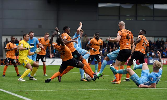 "Soccer Football - League Two - Barnet vs Coventry City - The Hive, London, Britain - October 7, 2017 A general view of a goalmouth scramble Action Images/Adam Holt EDITORIAL USE ONLY. No use with unauthorized audio, video, data, fixture lists, club/league logos or ""live"" services. Online in-match use limited to 75 images, no video emulation. No use in betting, games or single club/league/player publications. Please contact your account representative for further details."
