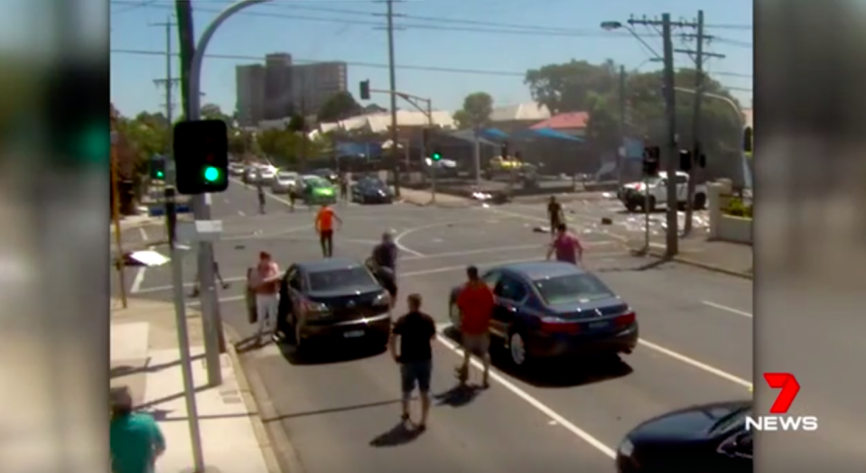 Other motorists head to the scene of the explosion. Source: 7News