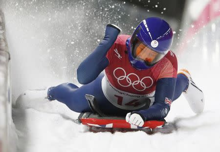 Britain's Lizzy Yarnold wins women's skeleton event at Winter Games