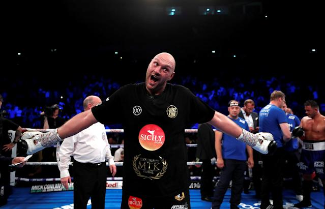 Tyson Fury celebrates his win against Sefer Seferi on June 9 . (Reuters)
