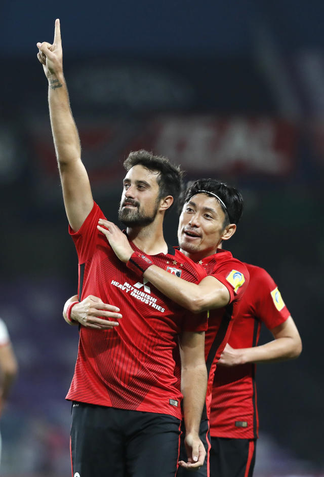 Japan's Urawa Reds Mauricio Antonio celebrates scoring his side's third goal during the Club World Cup soccer match for the fifth place between Wydad Athletic Club and Urawa Reds at the Hazza Bin Zayed stadium in Al Ain, United Arab Emirates, Tuesday, Dec. 12, 2017. (AP Photo/Hassan Ammar)