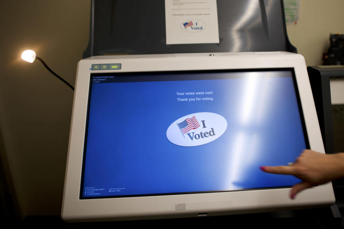 A demonstration on how to cast a ballot with a new voting machine, the ExpressVoteXL, in the election office at the Northampton County Courthouse in Easton, Pa., on Nov. 26, 2019. (Mark Makela/The New York Times)