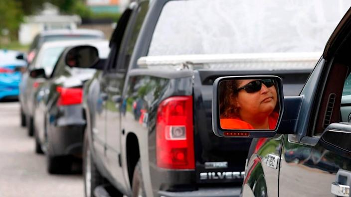 Glenda Wendt sits in her vehicle waiting in a long line to get gas at the Short Stop in Beulaville, N.C., Tuesday, May 11, 2021. Wendt said getting gas ëis not a must but I rather get it while there is some than (getting) none at all.î