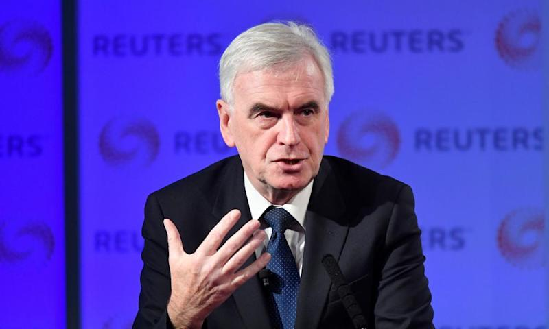 John McDonnell, the shadow chancellor, speaking at a Reuters event in London.