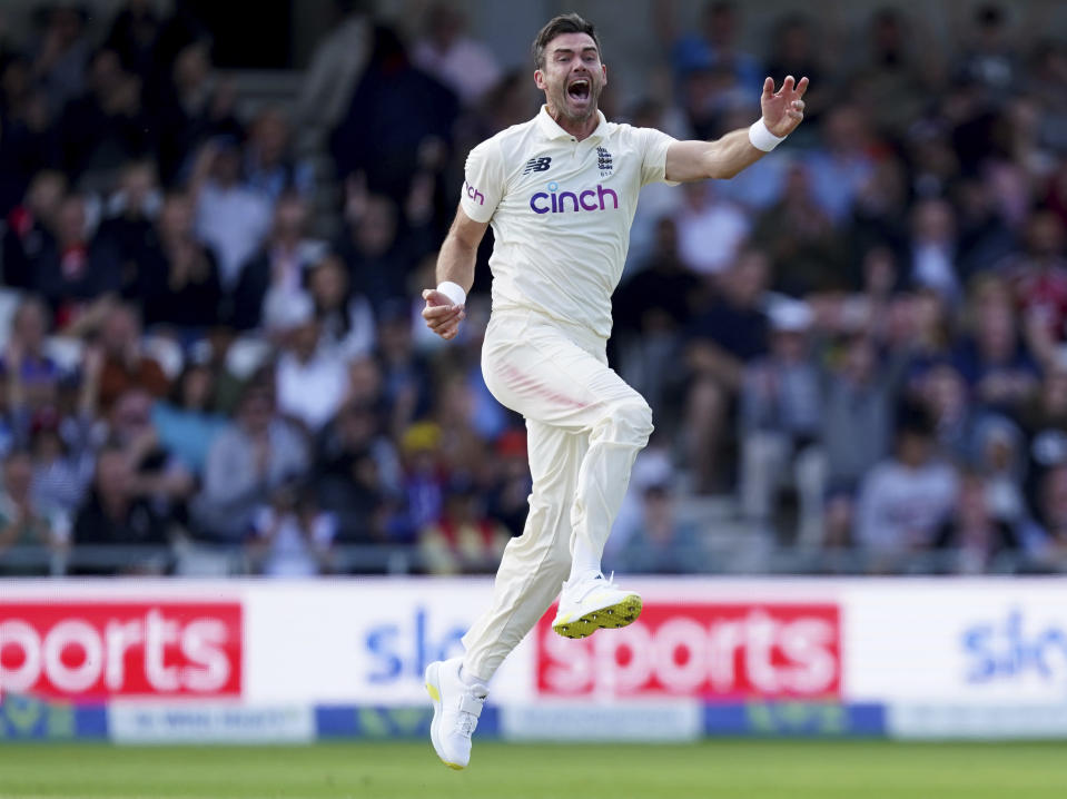 England's James Anderson celebrates the dismissal of India's captain Virat Kohli during the first day of third test cricket match between England and India, at Headingley cricket ground in Leeds, England, Wednesday, Aug. 25, 2021. (AP Photo/Jon Super)