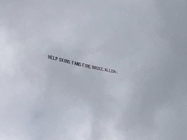 This banner was flying over Hard Rock Stadium on Sunday. (David Furones/Twitter)
