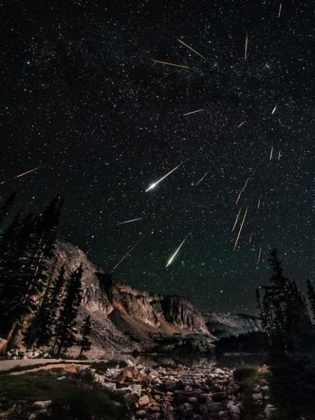 Night sky watcher David Kingham took this photo of the Perseid meteor shower from Snowy Range in Wyoming on August 12, 2012.