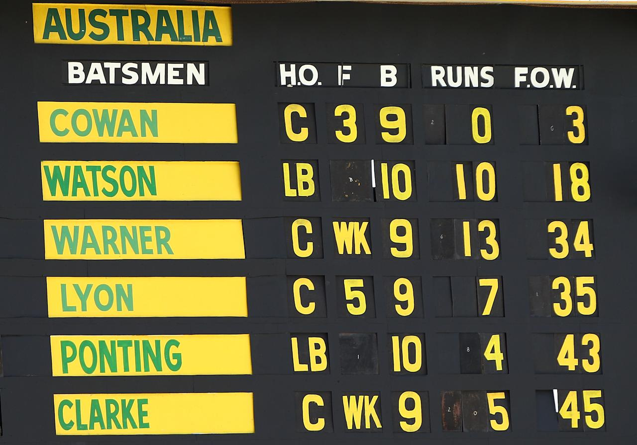 PERTH, AUSTRALIA - DECEMBER 01: The scoreboard is pictured displaying the Australian team's fall of wickets during day two of the Third Test Match between Australia and South Africa at WACA on December 1, 2012 in Perth, Australia.  (Photo by Paul Kane/Getty Images)
