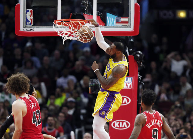 "He might be effectively out of the playoffs, but <a class=""link rapid-noclick-resp"" href=""/nba/players/3704/"" data-ylk=""slk:LeBron James"">LeBron James</a> is still fun to watch.. (AP Photo/Nuccio DiNuzzo)"